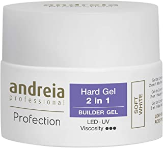 Andreia Professional Profection - Gel duro 2 en 1 - Gel de construcción bifásico - Blanco suave 44g