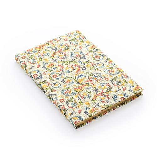 Skizzenbuch blanko DIN A5 mit italienischem Papier, edles Hardcover Zeichenbuch mit festem Einband und 80 Blatt (160 Seiten) leeren Seiten, Vintage Blanco Buch gebunden mit Blumen Motiv & Goldschnitt