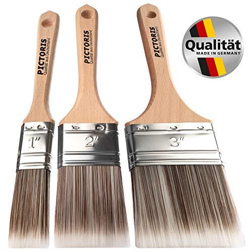 PICTORIS Lackierpinsel 3er Set PREMIUM   100% Made in Germany   3 handgefertigte Malerpinsel für Profis   Soft-Touch Synthetik-Borsten für ein perfektes Lackierergebnis   Kein Borstenverlust