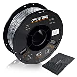 OVERTURE PETG Filament 1.75mm with 3D Build Surface 200 x 200 mm 3D Printer Consumables, 1kg Spool (2.2lbs), Dimensional Accuracy +/- 0.05 mm, Fit Most FDM Printer, Space Gray