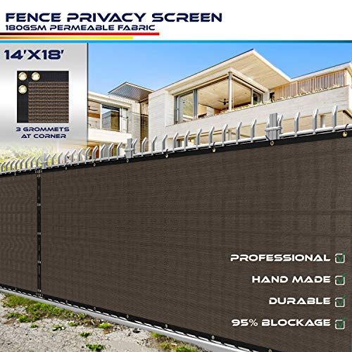 Windscreen4less Fence Privacy Screen 14' x 18', Brown, Pergola Shade Cover Patio Canopy Sun Block,180 GSM, 95% Privacy Blockage, Mesh Fabric with Brass Gromment, Customized