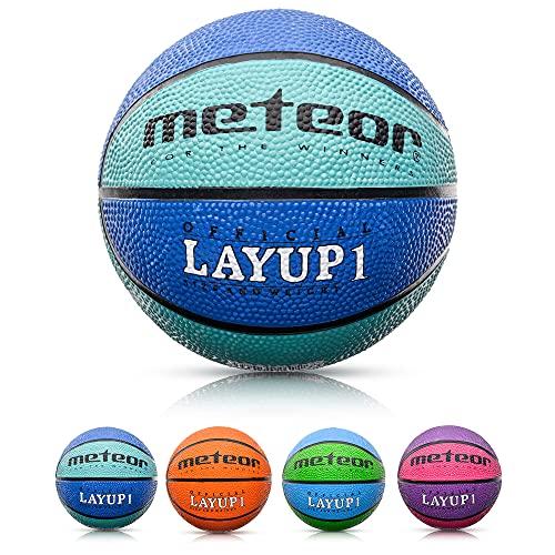 meteor® Layup Kinder Mini Basketball Größe #1 ideal auf die Jugend Kinderhände von 2-5 Jährigen abgestimmt idealer Basketball für Ausbildung weicher Basketball mit griffiger Oberfläche
