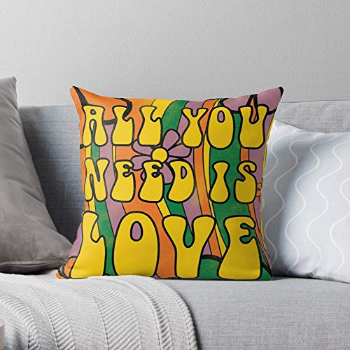 Psychedelic Beatles Music Flowers 60S The Hippie The Most Impressive Printed Square Throw Pillow case for Home and car Sofa Decoration