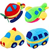 4 Pieces Plush Car Stuffed Toy Plane Bus Vehicle Plush Accessories Mini Car Plush Toys for Birthday Christmas Goody Bag Fillers Stocking Stuffer Easter Eggs Fillers