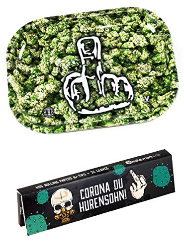 Knistermann Set: Rolling Tray Mini + King Size Slim Papers & Tips Corona du Hurensohn...