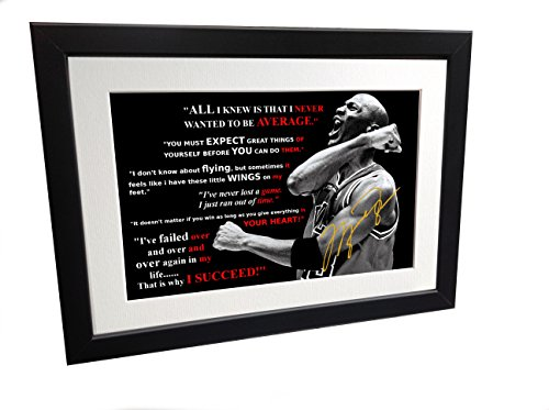 Kicks Michael Jordan Motivation Signiert 12 x 8 A4 Chicago Bulls Basketball Autogrammkarte Foto Bilderrahmen Geschenk