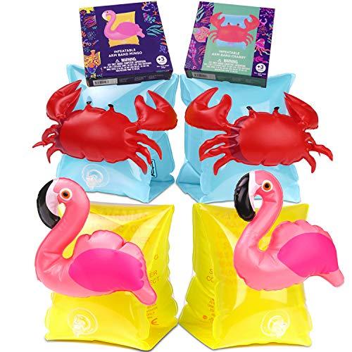 Nesloonp 2 Pares Manguitos Acuáticos Flotadores de Brazo de Brazo Inflación para Niños Flotador Brazos Rápida Salvavida para Aprender Nadar para Bebés NiÑos(Flamingo, Cangrejo)