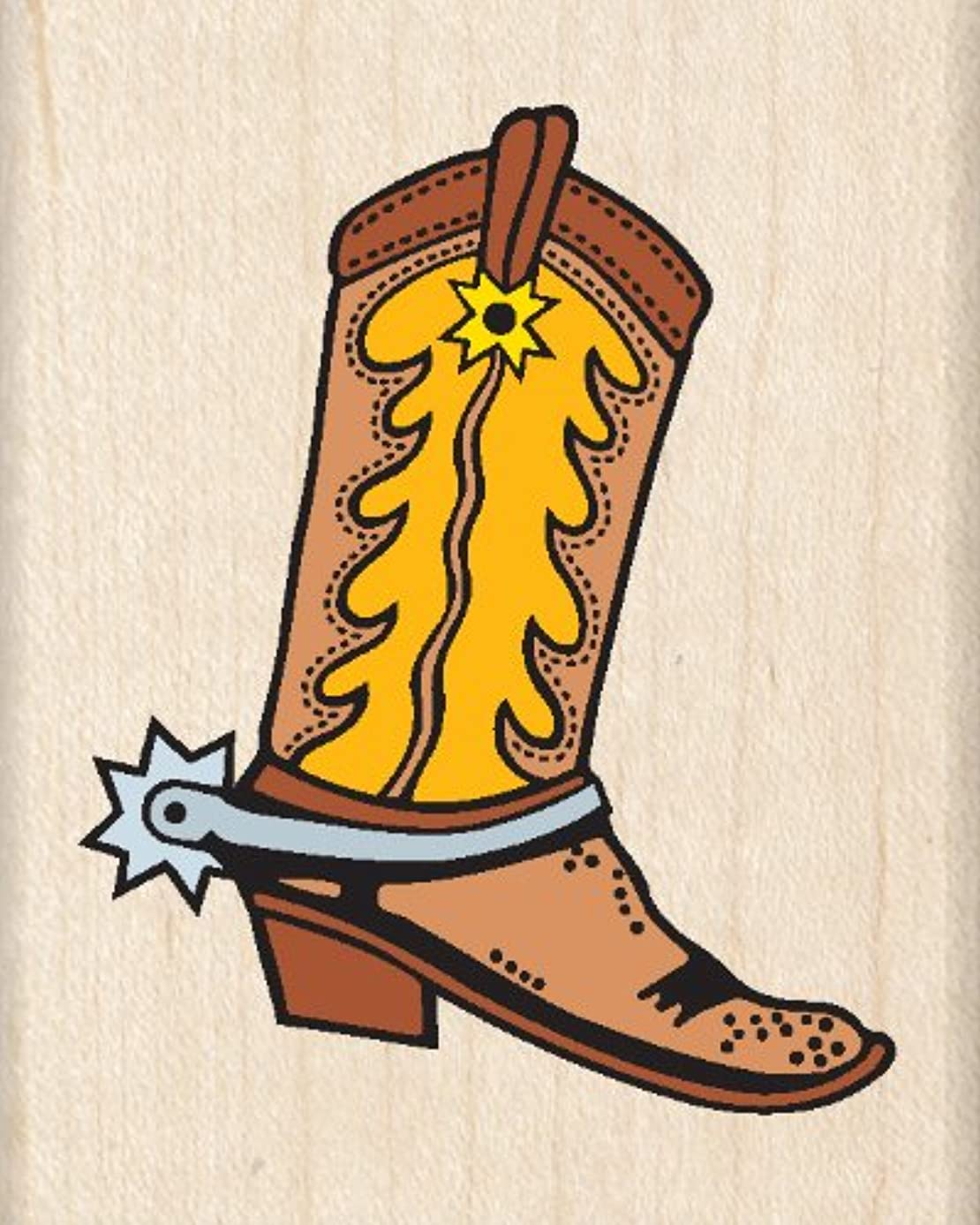 Inkadinkado Western Cowboy Wood Stamp for Arts and Crafts, 2.5'' W x 2'' L