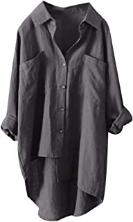 TrendyCosmo Womens Pocket Button Down Shirts V Neck Casual Tops Roll-up Long Sleeve Cotton Blouse S-4XL