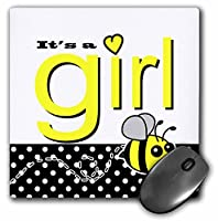 3drose 8x 8x 0.25インチマウスパッドIts A Girl CuteイエローBumble BeeブラックandホワイトPolka Dots (MP 57104_ 1)