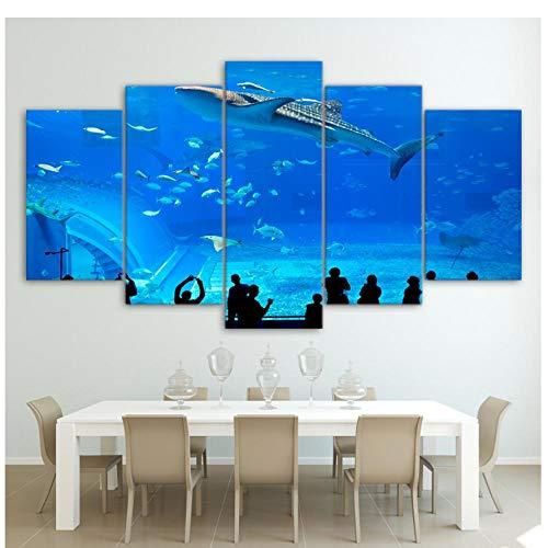 XXSCZ 5 Canvas foto's Decoratie Home Art Canvas Afbeeldingen 5 Panel Blue Aquarium Fish Group gedrukte poster muur voor de woonkamer Modular Frame Painting 30 x 40 30 x 60 30 x 80 cm met frame.