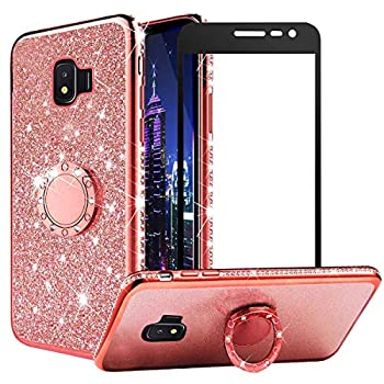 VNGUKS for Samsung Galaxy J2 Core Case with Screen Protector J2 Pure/J2 2019/J2 Dash/J2 Shine Case Bling Diamond Glitter Silicone Bumper Metal Ring Holder Cover with Tempered Glass Rose Gold