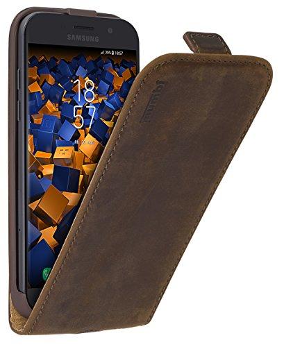 mumbi Echt Leder Flip Case kompatibel mit Samsung Galaxy A5 2017 Hülle Leder Tasche Case Wallet, braun