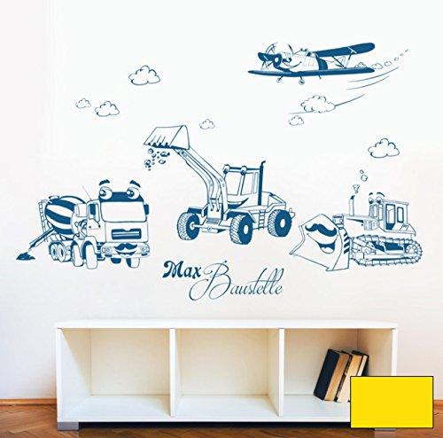 Graz Design M1733 Sticker mural Motif chantier de construction, pelleteuse, chenille et avion avec le nom au choix Couleur sélectionnée : jaune citron Taille XXL 146 cm de large x 100 cm
