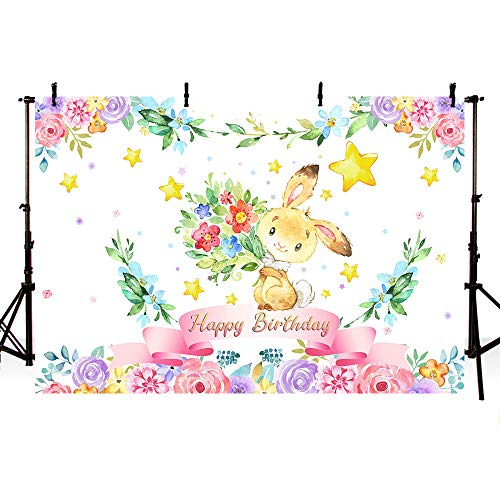 MEHOFOTO 7x5ft Bunny Girl Happy Birthday Party Backdrop Pink Floral Rabbit Gold Stars Spring Easter Photography Background Photo Banner Poster for Cake Table Supplies