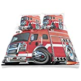 Juego de funda nórdica Cars Big Fire Truck con equipos de emergencia de seguridad universal Equipo de rescate Motor Tema de dibujos animados Juego de cama decorativo de 3 piezas con 2 fundas de almoha
