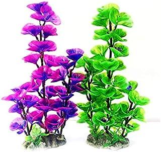 قطعتان من نباتات احواض الاسماك الاصطناعية، زينات من نباتات احواض الاسماك البلاستيكية، نباتات مائية ملونة خضراء وارجوانية