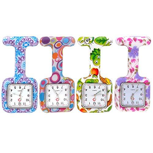 JSDDE Paquete de 4 Relojes de Enfermeras Imperdibles de Bolsillo Caja Cuadrada de Silicona, Patrón Colorido, Relojes de Cuarzo Clip On con Pinzas Analógicos de Enfermería