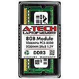 A-Tech 8GB DDR3 1066 MHz SODIMM PC3-8500 2Rx8 Dual Rank 1.5V CL7 204 Pin Non-ECC Unbuffered Notebook Laptop RAM Memory Upgrade Module