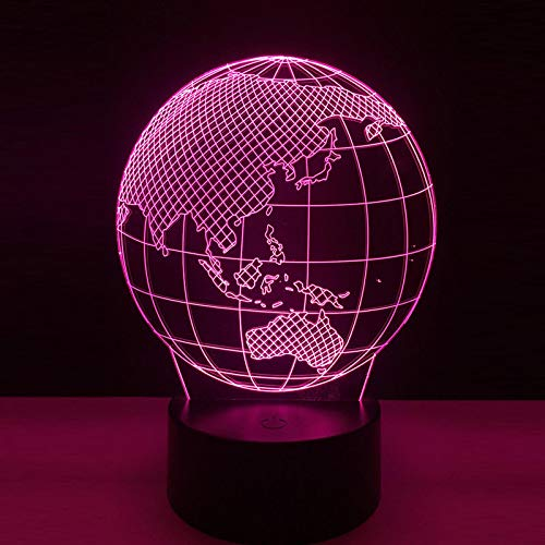3D Illusion Lamp World Map Night Light for Kids Boys Girls Led Table Desk Decor Lamp 3D Visual Light for Baby Bedroom Decoration Children Birthday Gifts Cartoon Toy with Remote
