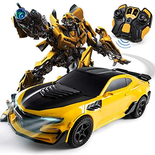 MUMUMI Bumblebee Fernsteuerungsauto- Man EIN-Knopf-Deformation Sensing Roboter Modell Jungen-Spielzeug Transformers Autobots Stunt Auto-Roboter-Lichter Sounds 360 ° Rotation Drift