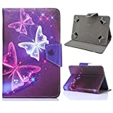 DETUOSI Universal 8 inch Tablet Case,NUVISION 8 inch Tablet Case,NuVision 8' Full HD IPS Tablet Case,Universal Leather Stand Case Folio Cover Compatible with Lenovo Yoga Tab 3 8 Tablet Cover#Butterfly