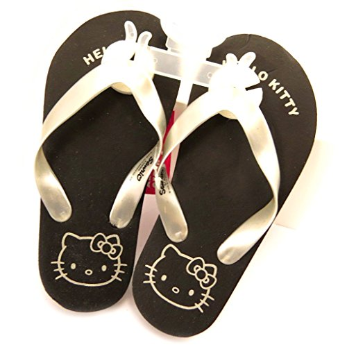 Hello Kitty [L2075 - Tongs Noir argenté
