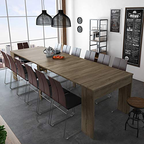 Mesa de Comedor Extensible, Consola, Mesa Consola, Mesa Multiposicion, Acabado en Roble Oscuro, Medidas: 49-300 cm (Largo) x 90 cm (Ancho) x75 cm (Alto) 🔥