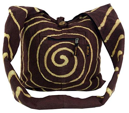 Guru-Shop Sadhu Bag Spirale - Braun, Herren/Damen, Baumwolle, Size:One Size, 40x40x10 cm, Bunter Stoffbeutel
