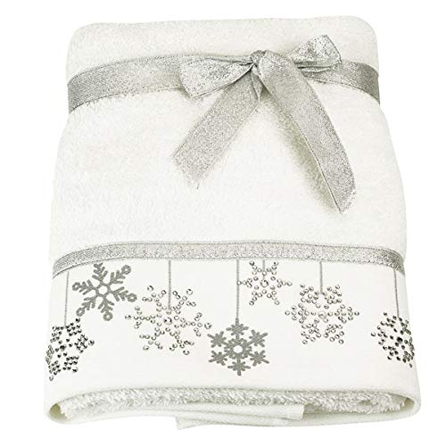 Festive Bellissimo Christmas Baubles Embroidered 100% Cotton Hand Towel, White