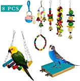 Yorgewd 8-Pack Bird Toys Parrots Cage Toys Hanging Swing Shredding Chewing Perches Parrot Toy Parrot Bite Toy for Budgie, Cockatiels, Conures, Finches, Small Parakeets