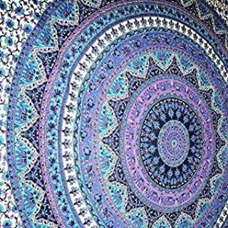 Jaipur Handloom Bohemian Psychedelic Intricate Floral Design Kerala Tapestry Wall Hanging Magical Thinking Tapestry Indian Hippie Bedspread Tapestries (Queen (84 X 85 inches Approx), Blue)