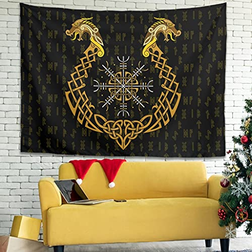 YCNJJB Tapiz Viking Dragon Compass Vintage Wall Art - Manta de picnic para decoración del hogar, color blanco 59 x 51 pulgadas