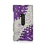 Insten 3D Hearts Rhinestone Diamond Bling Hard Snap-in Case Cover Compatible with Nokia Lumia 920, Silver/Purple