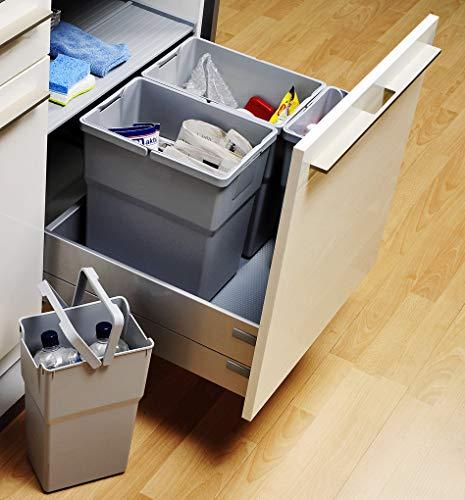 Ronin Furniture Fittings® ELCO CASE Select Mülleimer-Set Mülltrennung Abfallsammler B=450mm T=500mm, 19er Seiten (Bestückung A, Quarzgrau)