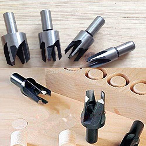 4 Stück Holzdübel-Schneidwerkzeug, Bohrer-Set, gerade Klauen-Typ, Korkbohrer, 5/8 1/2 3/8 1/4 Holzwerk-Dübelschneider