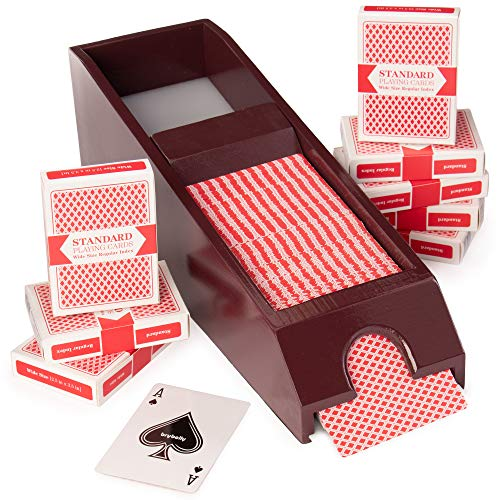 Brybelly 8Deck Wooden Blackjack Dealer Shoe W/8mazzi di Carte da Gioco by