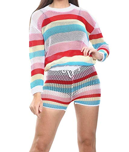 Islander Fashions Femmes Multicolor Stripe R�sille Set Dames 2 Piece Voir � Travers Une Maille Top Court Small/Medium