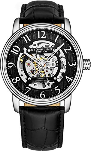 Stuhrling Original Mens Automatic Watch Skeleton Stainless Steel Self Winding Mechanical Dress Watch with Premium Leather Band Legacy Collection