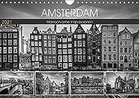 AMSTERDAM Monochrome Impressionen (Wandkalender 2021 DIN A4 quer): Historisches Stadtherz (Monatskalender, 14 Seiten )