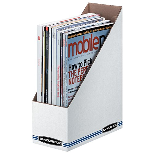 Bankers Box 10723 Corrugated Cardboard Magazine File, 4 x 9 1/4 x 11 3/4, White (Case of 12)