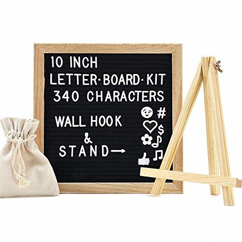 MIFXIN Wechselhafte Filz Buchstabe Board mit 340Buchstaben Zahlen Emojis 25,4x 25,4cm, austauschbarer Holz Nachricht Board, Schild, Eiche Holz Rahmen Wandhalterung mit Gratis Leinwand Tasche