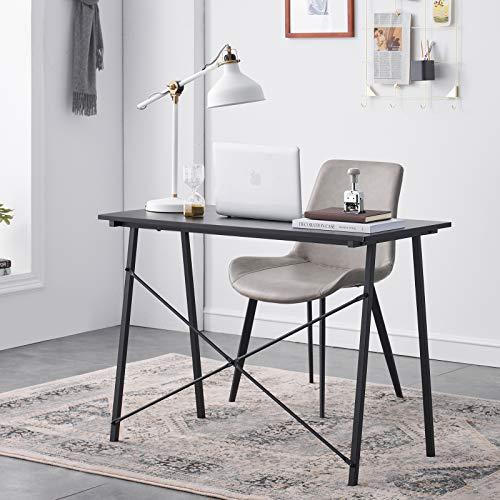 Symylife Escritorio de computadora Simple Escritorio de Estudio de Escritura Escritorio Industrial pequeño de Oficina en casa con Patas de Metal Mesa de Madera, 100x48x74cm, Lino Negro