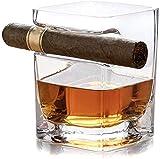 DAH Vaso de Whisky con Soporte para cigarros con reposapiés Incorporado, sin Manos para los Amantes de los cigarros Old Fashion Ultra Clear Cigar Glass, 320 ml (Square)