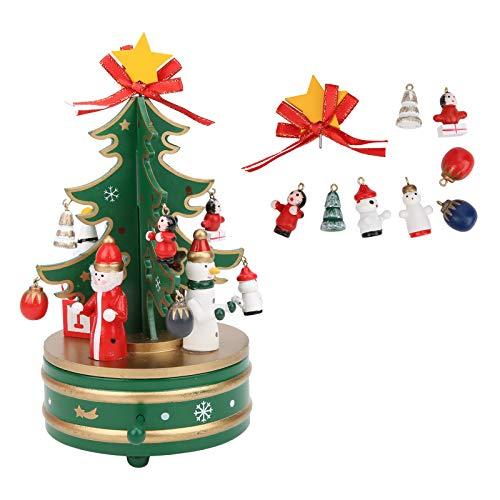 Fybida Material de Madera Duradero y confiable Pure Sound Cajas Musicales navideñas Colores Brillantes para niños Viene con un Paquete de Accesorios Decoración navideña(Green)