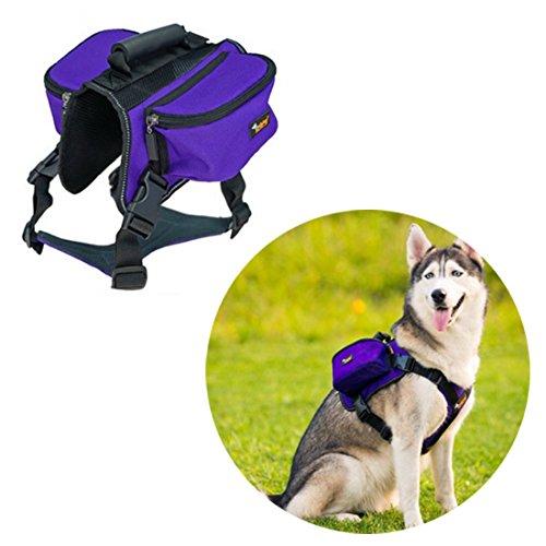 Ondoing Hond Rugzak Servies Middelgrote honden Backpack Outdoor fietstas zadeltas verstelbare huisdier tas Pack reflecterend vest hondenharnas voor wandelen camping reizen, X-Large, lila