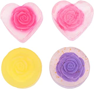 Lurrose 4PCS Essential Oil Soap Bar Handmade Body Soap Care Moisturizing Cleansing Bath Soap (2 Heart-shaped Rose + 1 Round Lemon + 1 Round Lavender)