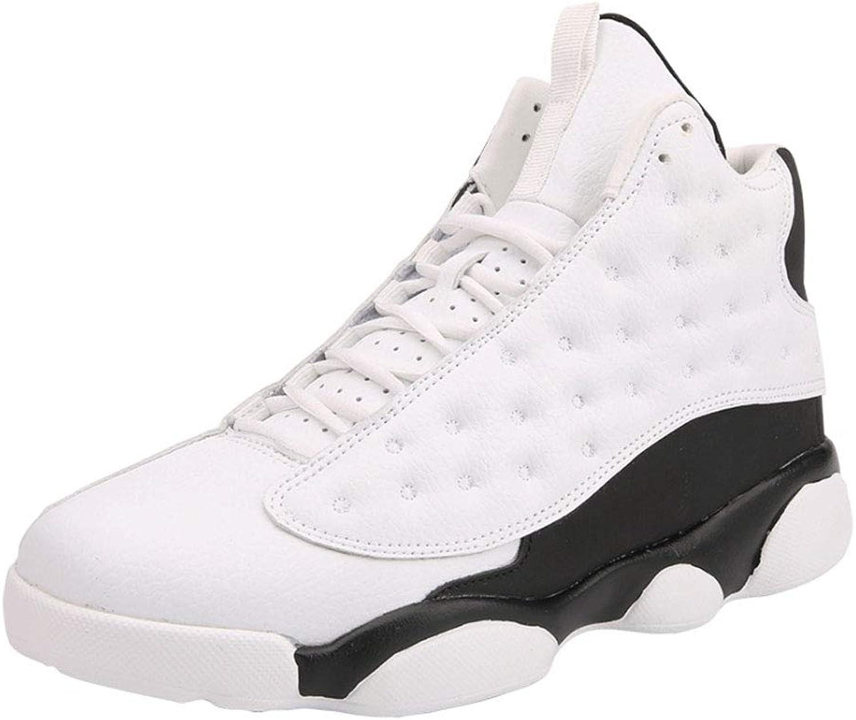 ASDFGH Basketball shoes, Non-Slip Shock Sneakers Men'S Breathable Basketball Training Boots Outdoor Boots,WhiteandBlack,42