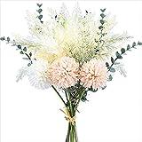 KIRIFLY Künstliche Blumen Unechte Pampasgras Getrocknet Phragmites Dekozweige Eukalyptus Blumenarrangements Blumenstrauß Seidenblumen für Inneneinrichtung Dekoblumen (Champagner)