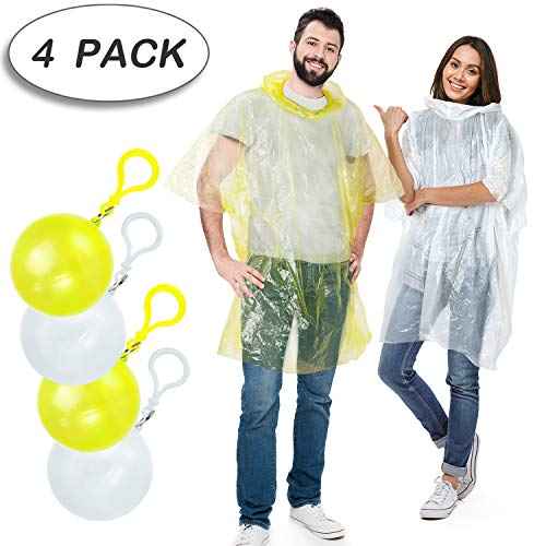 Rain Poncho,Disposable Emergency Raincoats Outdoor colorful Set of 5 Pieces Portable Hook Poncho Ball (All code)